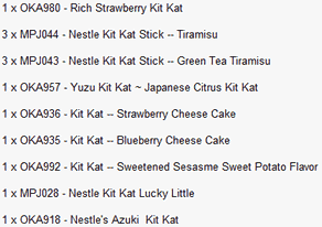 List of Japanese junk food bought from JBOX